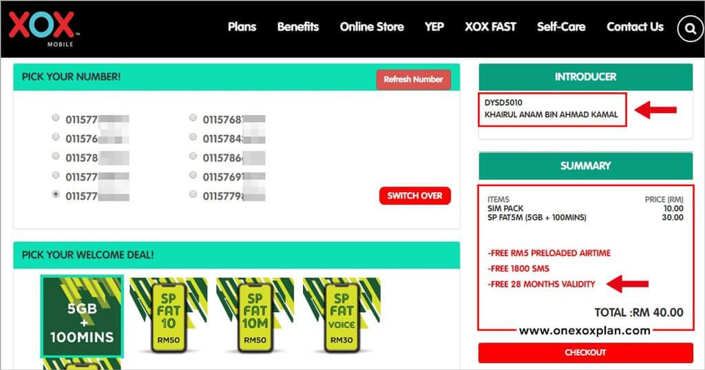 Beli Nombor Baru ONEXOX Prepaid melalui Online Store