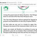 Masjidil Haram dan Masjid Nabawi Akan Kembali Dibuka untuk Ibadah