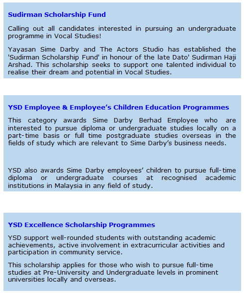 Permohonan online biasiswa Yayasan Sime Darby (YSD) untuk pelajar cemerlang di Malaysia