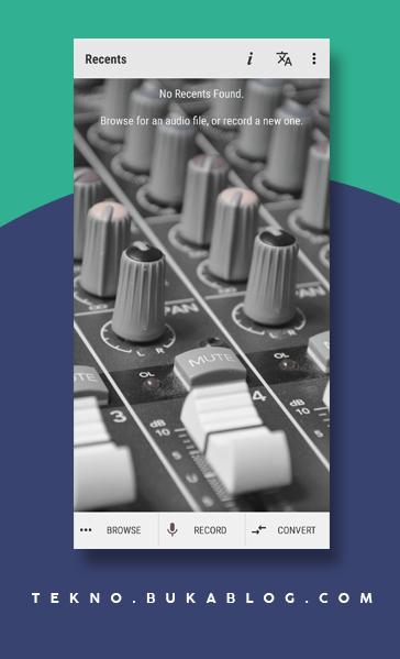 Tampilan awal aplikasi Perekam Suara Wave Editor