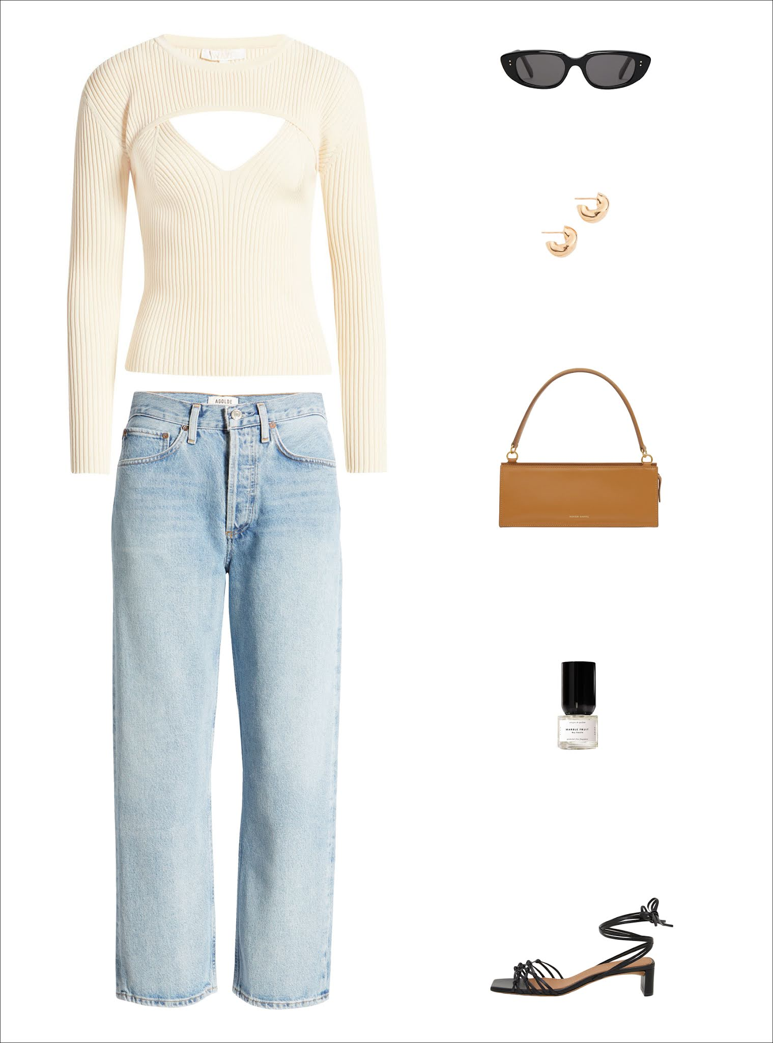 How to Transition a Cool Sweater From Summer to Fall — Outfit idea with under $100 cutout sweater, black oval sunglasses, chunky hoop earrings, a sleek mini bag, '90s-inspired jeans, and black strappy sandals