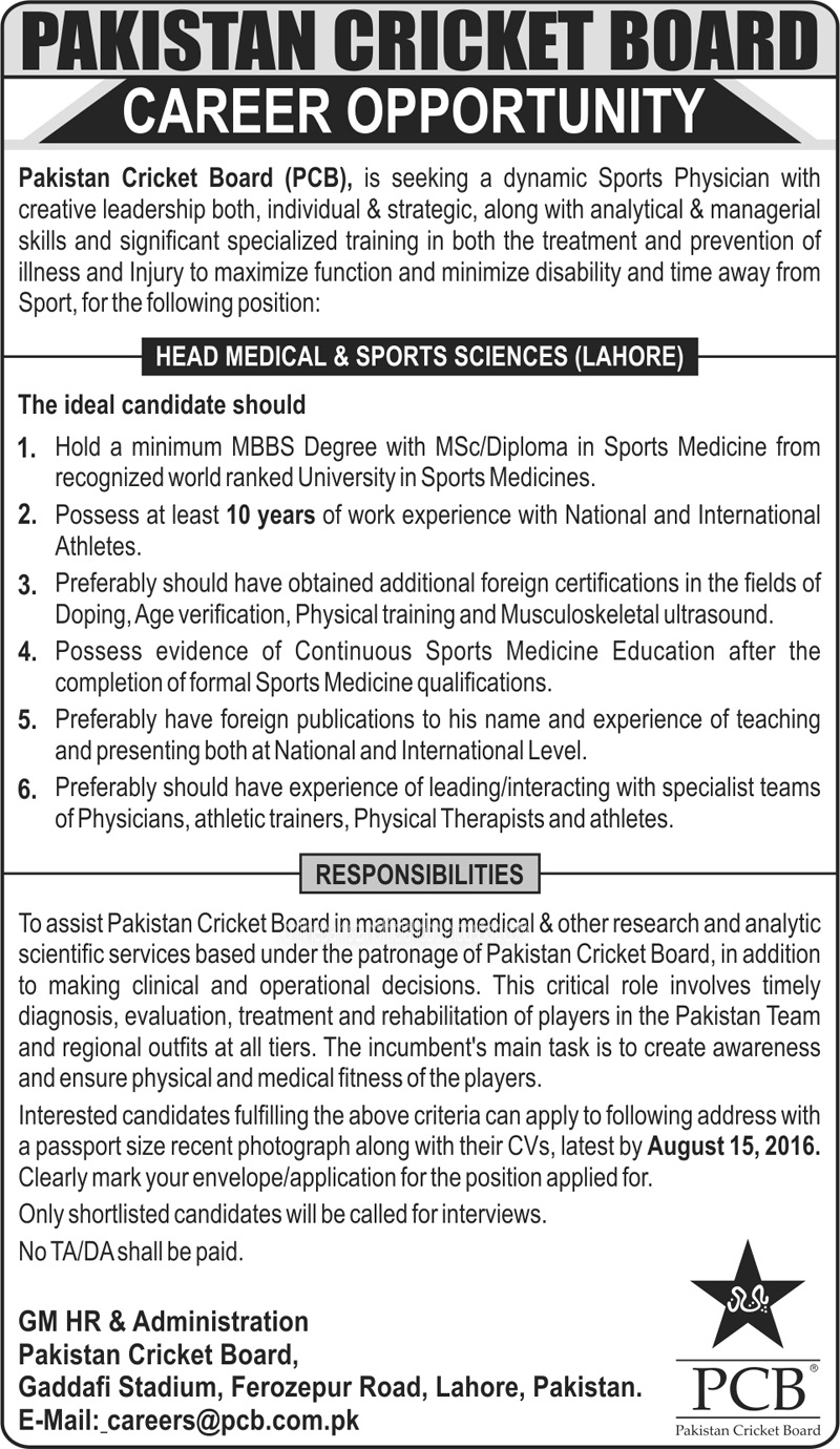 Medical Officer Jobs in Pakistan Cricket Board 2016