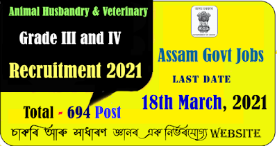 Animal Husbandry & Veterinary Recruitment 2021 for Total 694 Grade III and IV Post