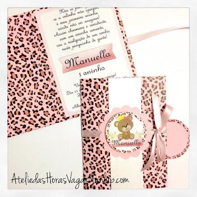 convite artesanal personalizado aniversário infantil princesa ursinha oncinha rosa 1 aninho menina