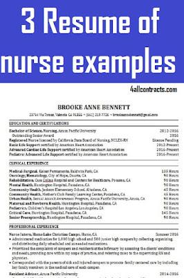 3 Resume of nurse examples