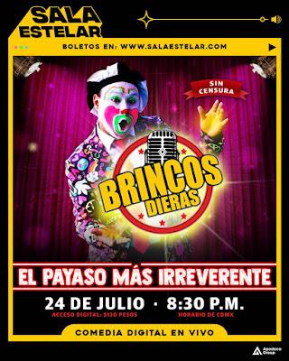 Brincos Dieras llega a Sala Estelar a presentar su show de comedia vía streaming