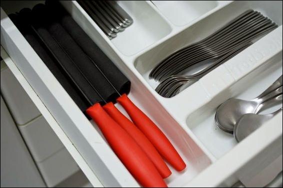 como organizar facas de corte