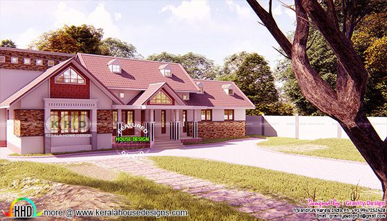 Wide dormer window sloping roof home