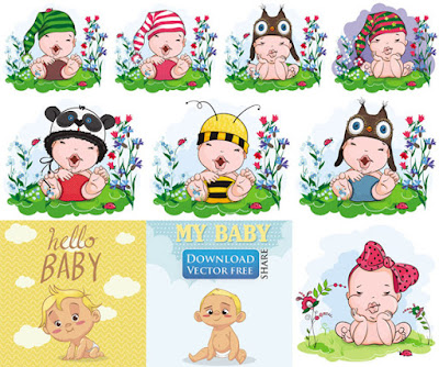 10-mau-do-hoa-tre-so-sinh-dang-yeu-baby-with-hat-vector-7182