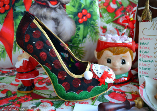 festive Christmas shoe side with Santa character heel