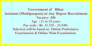 Assistant (Multipurpose) or Any Degree Recruitment - Government of   Bihar