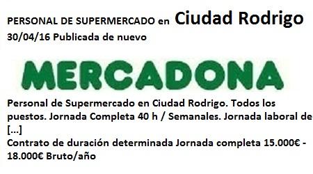 Lanzadera de Empleo Virtual Salamanca, Oferta Mercadona Ciudad Rodrigo