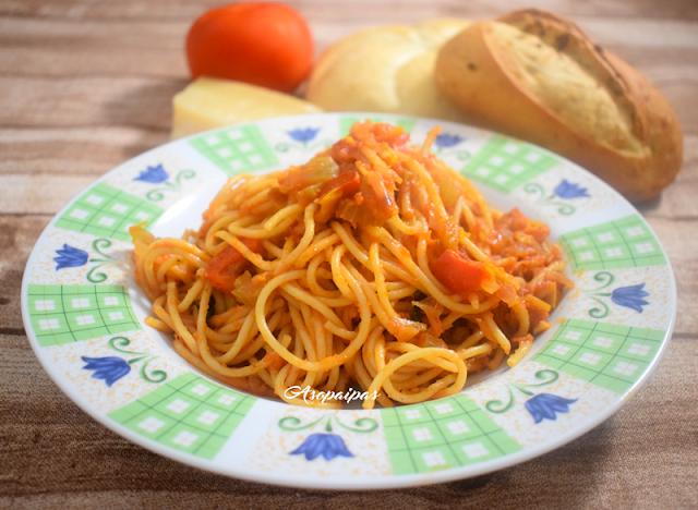 Espaguetis Integrales con Sofrito de Verduras. Vídeo Receta