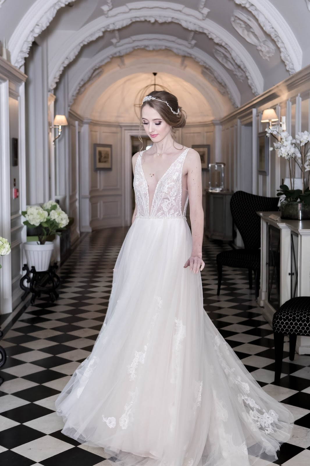 Bridal Dress Plunging Neckline Tulle