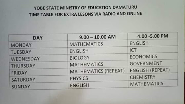 Yobe State Extra Lesson Programme Timetable [JSS & SSS] | Radio, TV