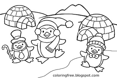 Penguin cartoon igloo coloring pages ice cap winter snow clipart for kids printable craft activities