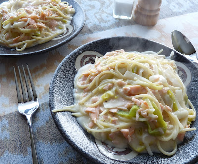 Creamy Spaghetti with Leeks & Smoked Salmon