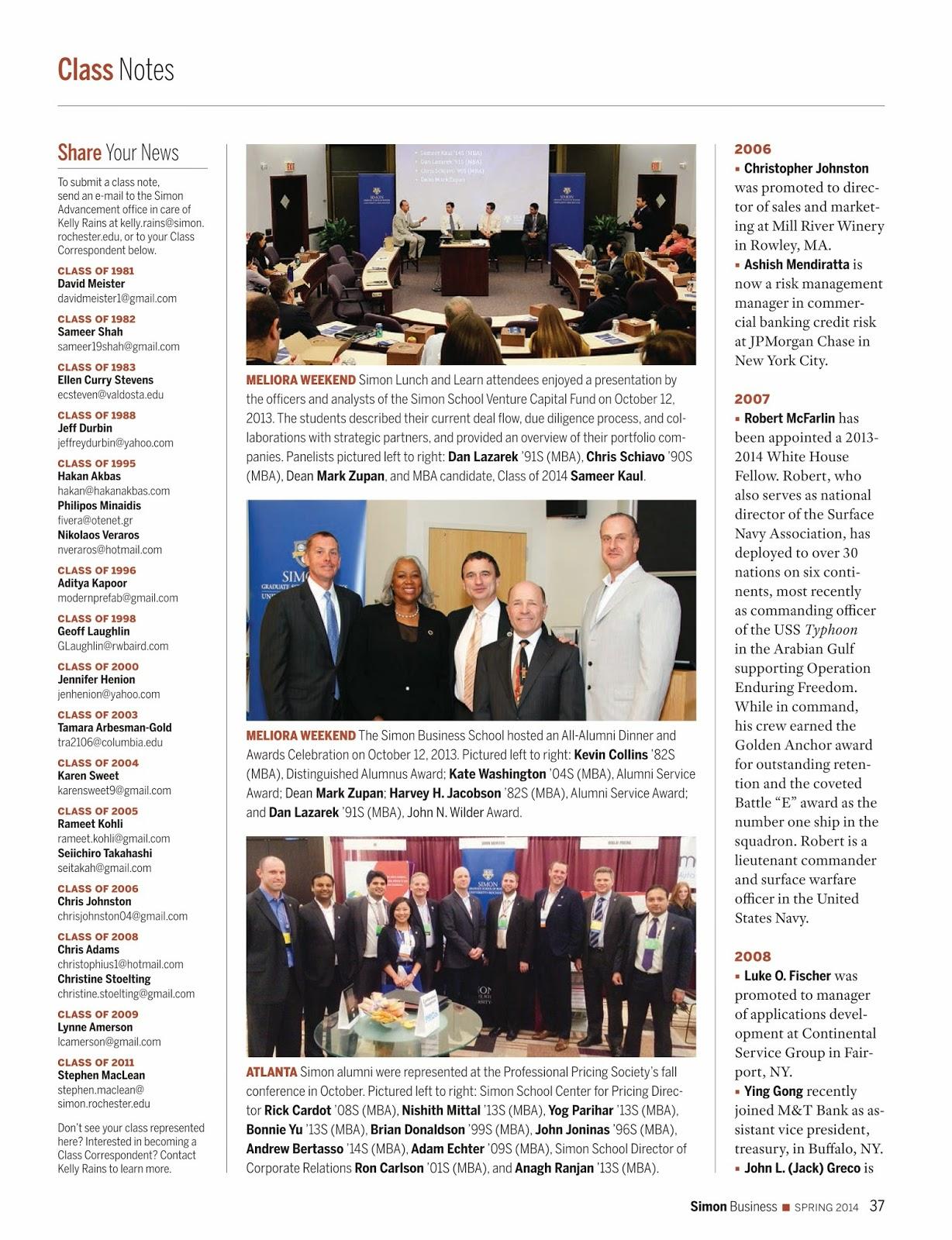 Class Notes - Simon Business Magazine