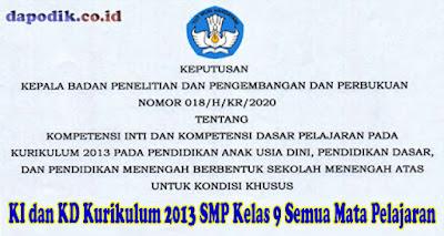 KI dan KD Kurikulum 2013 SMP Kelas 9 Semua Mata Pelajaran Untuk Kondisi Khusus Berdasarkan Keputusan Balitbang kemdikbud Nomor 018/ H/KR/2020