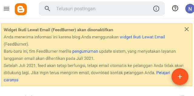 FeedBurner untuk Blogger di hentikan sementara atau dinonaktifkan