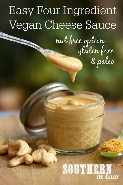 Easy Four Ingredient Vegan Cheese Sauce Recipe - gluten free, paleo, vegan, low carb, sugar free, clean eating recipe, cashews, nutritional yeast