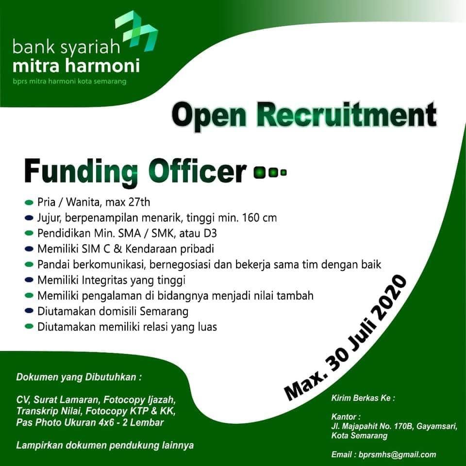 Lowongan Kerja Semarang di Bank Syariah Mitra Harmoni Untuk Posisi Funding Officer