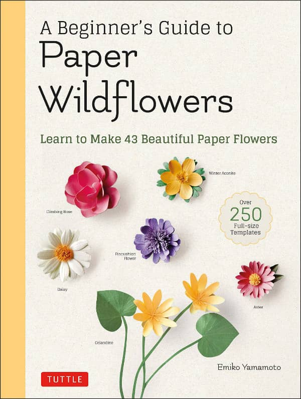 papercraft wildflowers on book cover