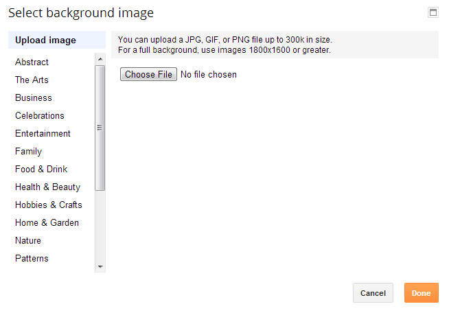 How to upload custom background image on blogger