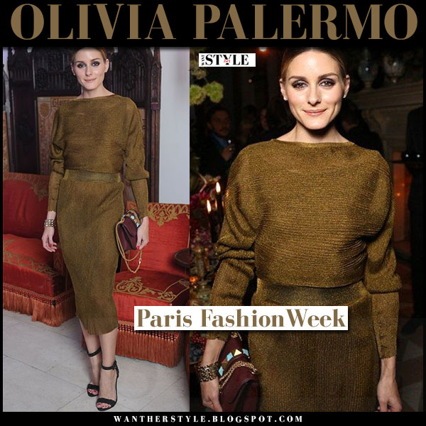 Olivia Palermo in khaki green belted midi valentino dress and black suede sandals gianvito rossi portofino what she wore paris fashion week