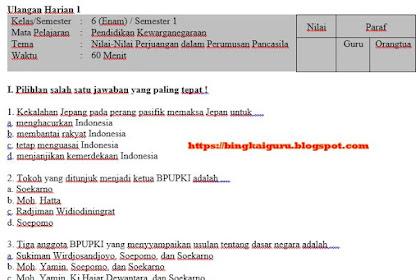 Unduh, Download Soal dan Kunci Jawaban Ulangan Harian 1 PKn Kelas 6 SD Semester 1 Tema Nilai-Nilai Perjuangan dalam Perumusan Pancasila