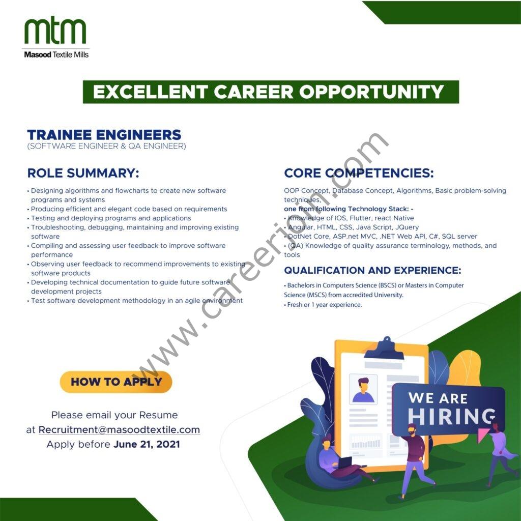 recruitment@masoodtextile.com - Masood Textile Mills Ltd MTM Jobs 2021 in Pakistan For Trainee Engineers