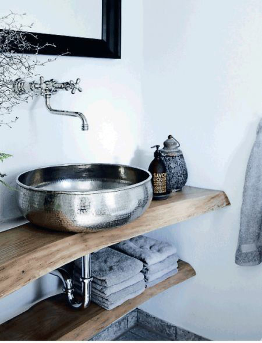 Live Edge Wood Vanity and Hammered Metal Vessel Sink