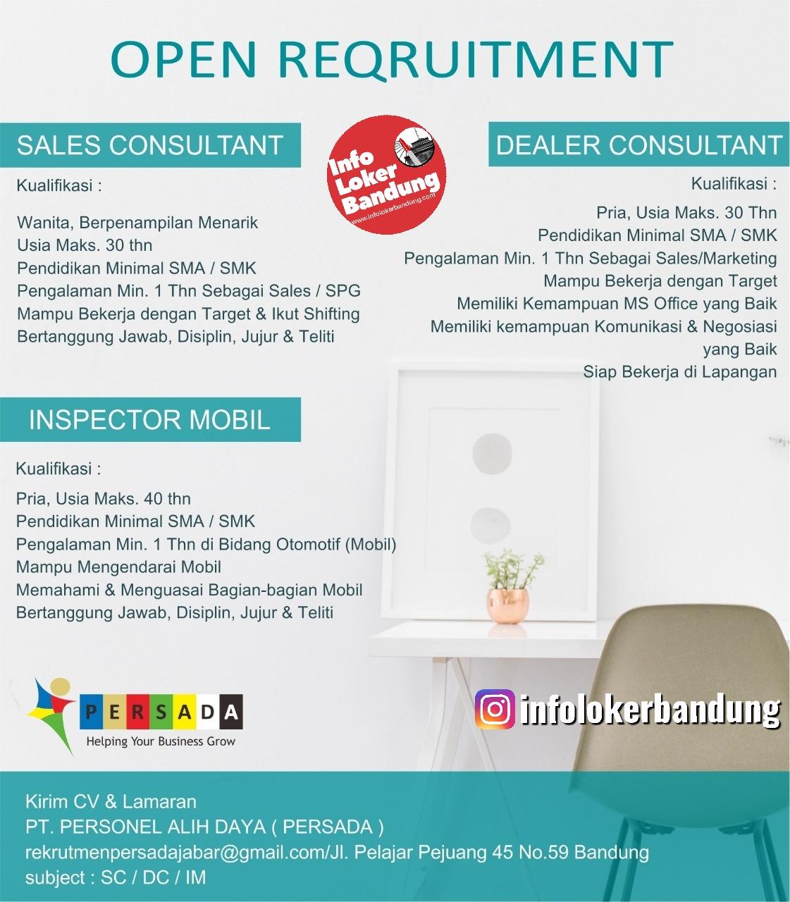 Lowongan Kerja PT. Personnel Alih Daya ( Persada) Bandung September 2019