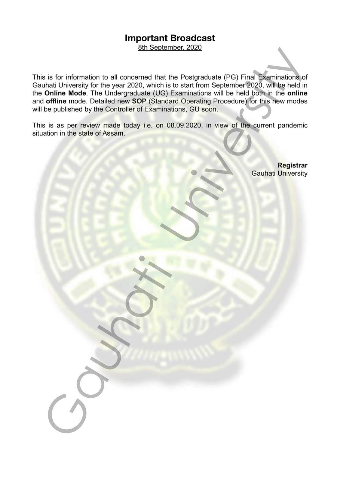GU Exam Notice