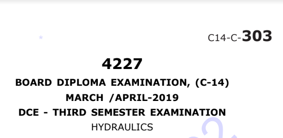 Sbtet Hydraulics Previous Question Paper c14 March/April 2019