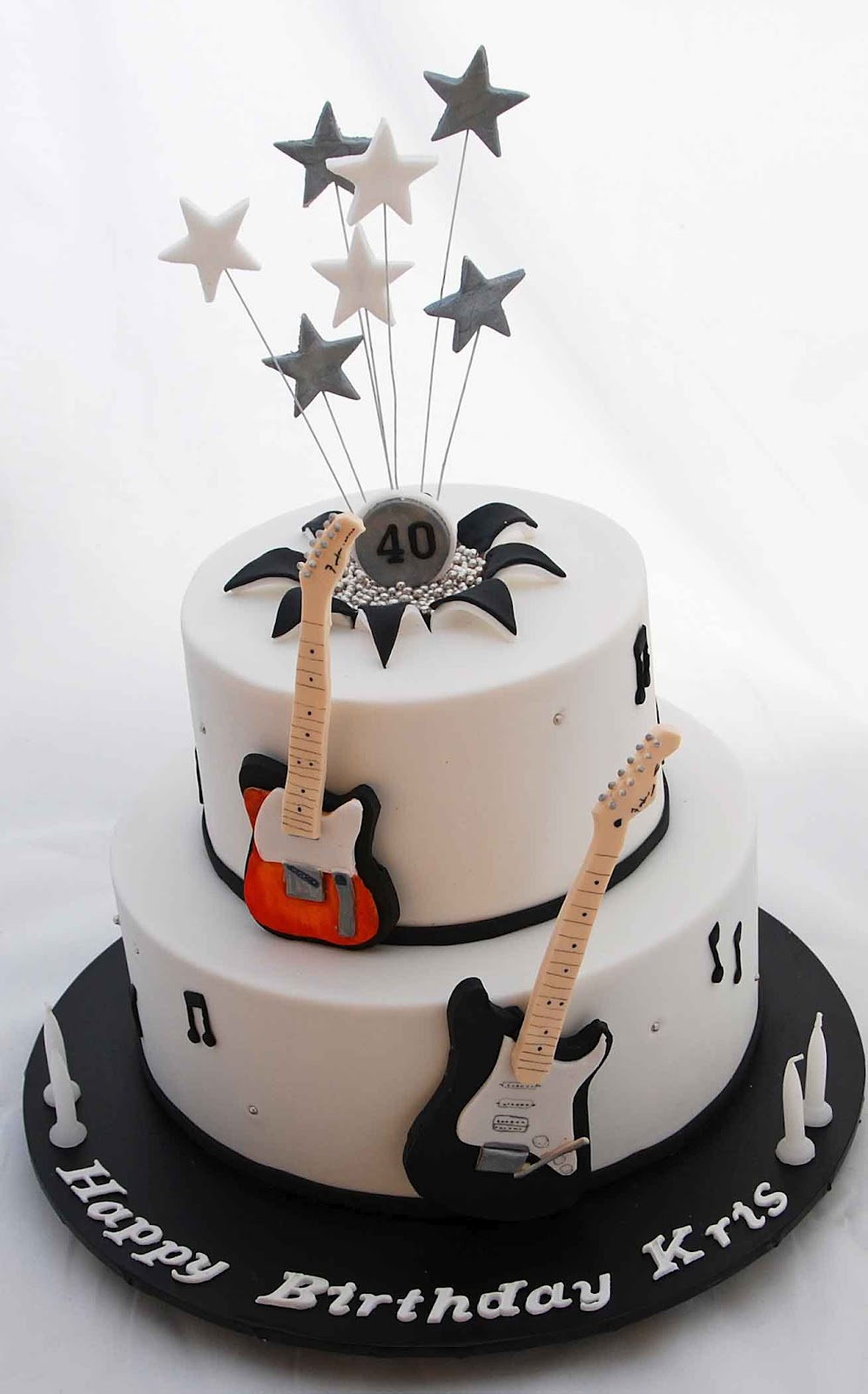 Little Robin Black White And Silver Guitar Cake