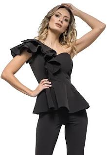 Дамска Блуза Cindy от пеплум с голо рамо - Atelier de Creatie Vigo