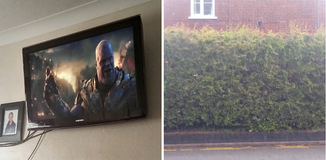 A photo of Thanos on my Tv and it raining.