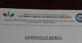 Lowongan Kerja Staff QC di Bekasi PT Triple Circle Technology Indonesia