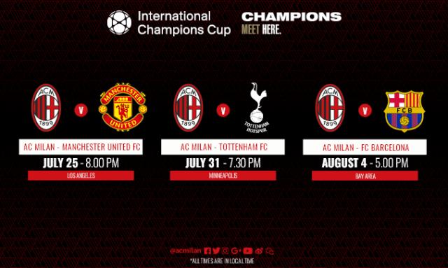 Jadwal Pertandingan AC Milan di ICC 2018 Amerika Serikat