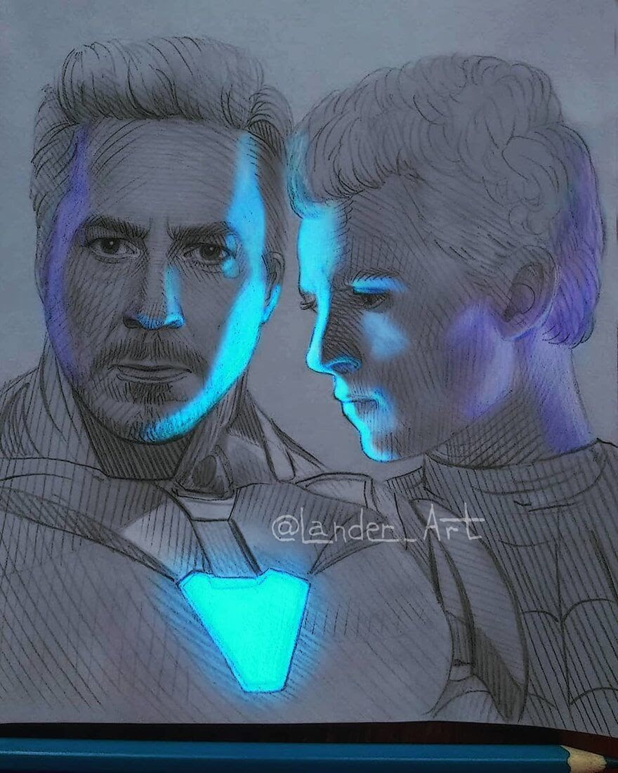 10-Iron-Man-and-Spider-Man-Chertkova-Lena-Game-of-Thrones-Glowing-Sketches-www-designstack-co