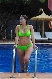 Imogen Thomas huge boobs busty ass babe in Neon Green Bikini WOW September 2017
