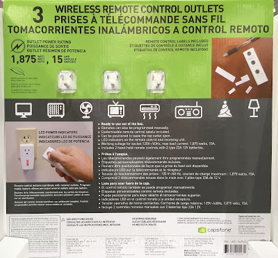 Costco 962763 - Control lamps, heaters, Christmas lights, etc with the Capstone Wireless Remote Control Outlets