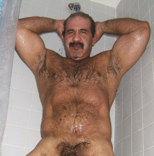 Hairy bears in shower