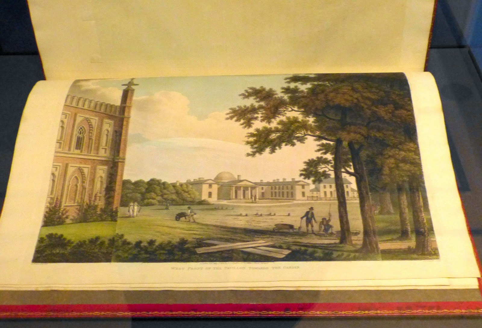 Designs for the Pavilion at Brighton  West Front of the Pavilion  towards the Garden   by Joseph Constantine Stadler after Humphry Repton (1808)