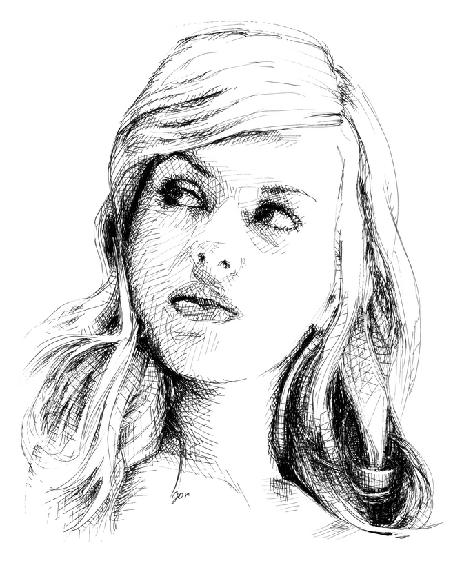 Cross hatching, ink portrait. Traditional drawing.