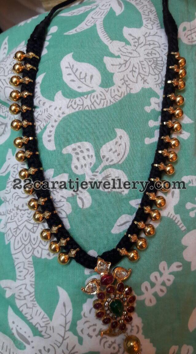 Black Thread Long Set with Simple Pendant