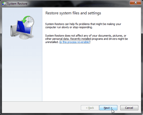 System Restore di Windows 7