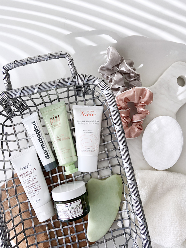 Round-up of 5 face masks featuring Fresh Beauty, Pixi, Dermalogica, and Avene