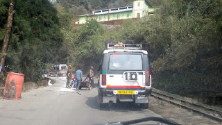 Road repair work in progress, Darjeeling